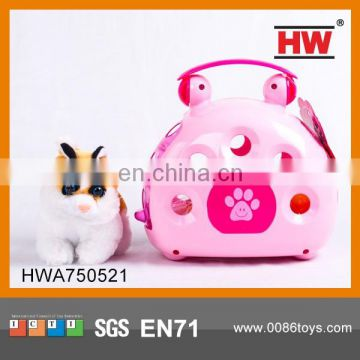 2014 Newborn Pet Toys Cat Plush Toy With Plastic Basket Packaging