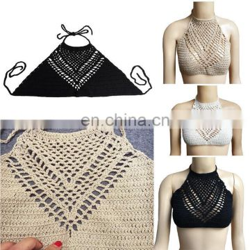 WOMEN GIRL HALTER KNITTED CROP TANK TOP CROCHET BEACH BIKINI BOHO BRALETTE BRA