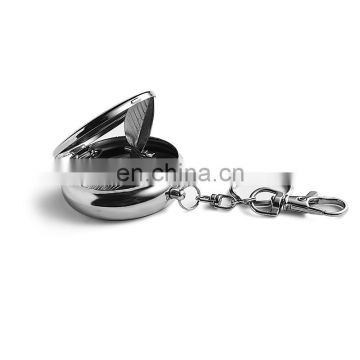 Round shape portable pocket metal cigarette ashtary with keychain