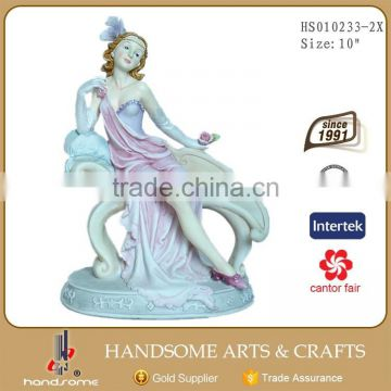 10 Inch Home Decoration Resin Sitting Lady Figurine Sculpture