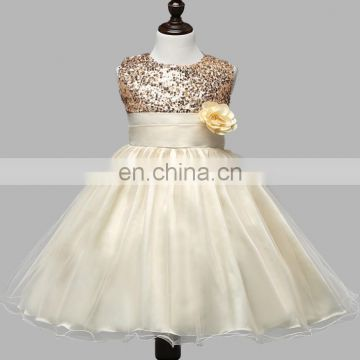 Beige Sequin Flower Girl Dress Sleeveless Ivory Birthday Dress Princess Romper
