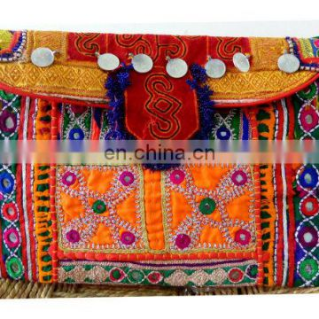 Indian kutch embroidered Clutch,Makeup Pouch,Vintage Clutch,Banjara Clutch,Boho Bag,Beads work Colorful Banjara Bag wholesale