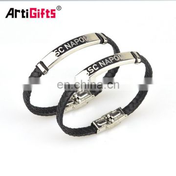 Hot sale leather custom bracelet men with stainless steel clasp