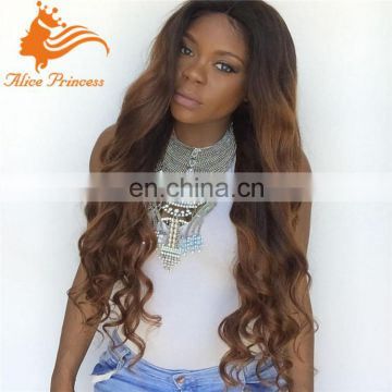 body wave ombre lace wig natural balck and brown color two tone lace front wig for black people