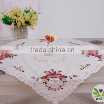 wholesale white red flower square restaurant hand embroidery designs christmas tablecloth lmzc10062k - Square Christmas Tablecloth