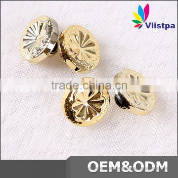 Newest plastic round shape metallic buttons for garment accessory