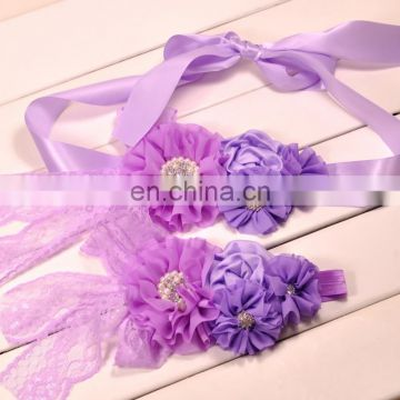 Baby Girl Sash Headband Sets Purple Flower With Rhinestone Lace Bows Luxe Maternity Sash Belt