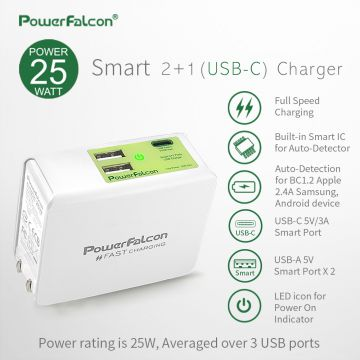 PowerFalcon  Smart 2-port USBA and 1-port USBC Foldable Charger