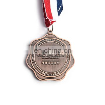 antique copper metal cheap soccer medals