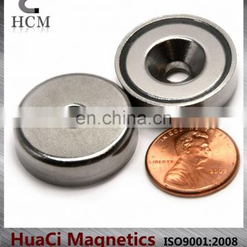 "39 LB Holding Power Neodymium Cup Magnet 1"" Magnetic Round Base with #10 screw"