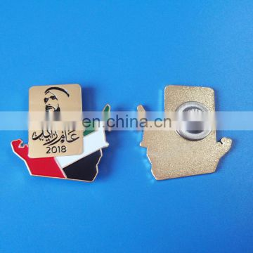 Magnetic sheikhs gold badges with flag for UAE national day gifts