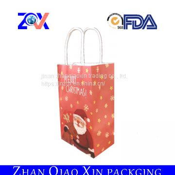 Shandong packaging and printing paper gift bags with twist handles brown paper shopping bag