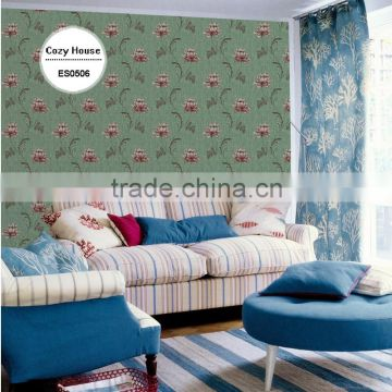 on trend heavy embossed plastic wallpaper, country bold floral wall sticker for home interior , sophisticated wall covering