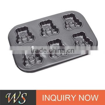 6 Cups Bear Shape Carbon Steel Muffin Cup