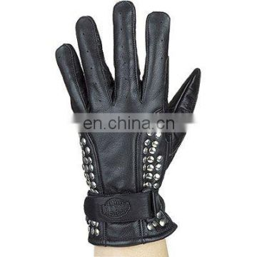 HMB-2079A, LEATHER WOMEN RIDING GLOVES MOTORCYCLE STUDED STYLE