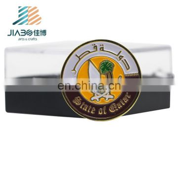 Qatar logos China manufacturer magnet gold casting badge lapel pins