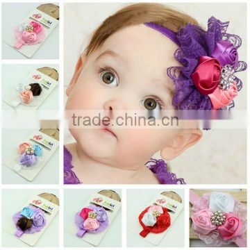 Lovely headband with flower for baby girls/hot sale lace stretchy headbands