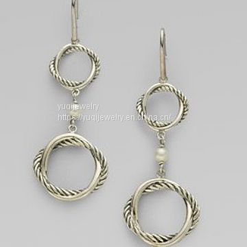Freshwater Pearl Sterling Silver Round Link Drop Earrings(E-098)