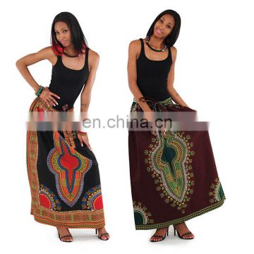 Dashiki dress Traditional print BOHO Long Women Maxi Wrap Skirt African Queen skirt Dashiki Maxi Long Full Skirt Dress wholesale
