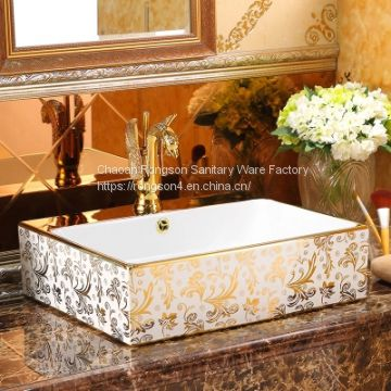 Latest luxury home decal no hole golen big size indian commercial basin ceramic gold bathroom china art basin sink