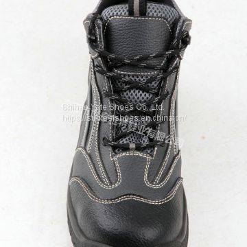 leather safety boots safety shoes with steel toe pu injection outsole
