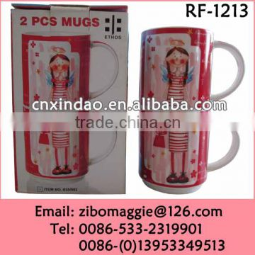U Shape Stackable Custom Designed Promotional Ceramic Cup of Beer for Dinner
