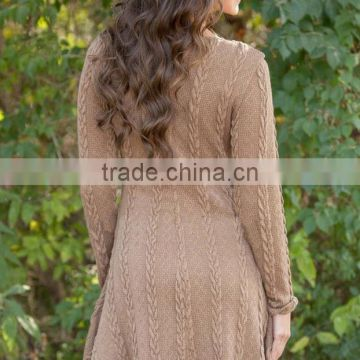 Walson Spring and Autumn new four-color fashion knitted sweater round neck long-sleeved dresses
