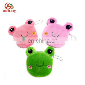 Mini frog shape plush round wallet coin purse