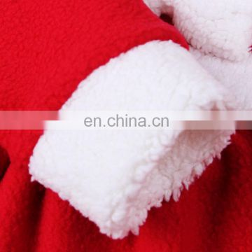 Newest Baby Girl Child Charming Christmas Skirt Gift Bowknot Ruffle Round Collar Long Sleeve Dress + 1 * Santa Claus Hat