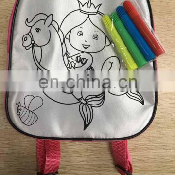 2016!NEW DIY painting satin backpack bag color your own satin bag for kids with markers-60541