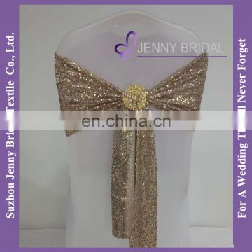 C433C champagne gold spandex sequin wedding decoration elastic chair sash with buckle