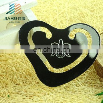 Jiabo custom hollow heart-shaped metal bookmark with flower