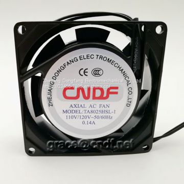 CNDF made in china factory ventilation fan 80x80x25mm 220/240VAC  0.08A 0.07A  16/11W ac cooling fan