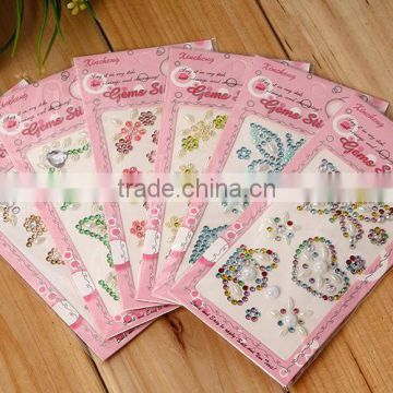 Custom Mixed Color Butterfl Rhinestone Jewelry Seal Rhinestone Acrylic Decoration Stickers