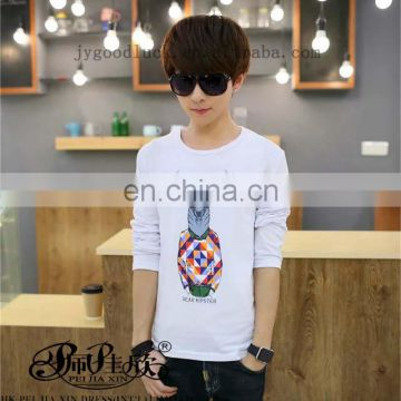 Peijiaxin Casual Style Custom Printed Plain Mens Long Sleeve Tshirt