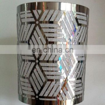 Custom Stainless steel etching candle lamp shades with black color plated