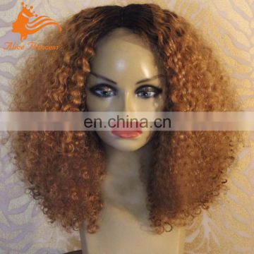Ombre Full Lace Human Hair Wigs Malaysian Two Tone Color #1b30 Full Lace Human Hair Afro Kinky Curly Wigs For Black Women