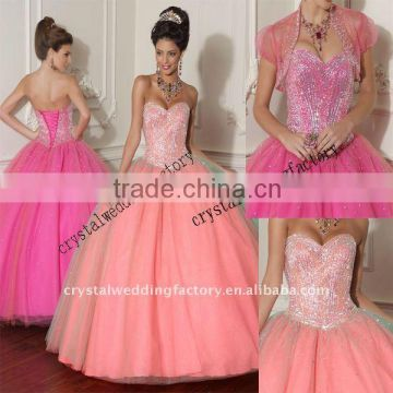 Luxurious sweetheart beaded bust tulle custom-made ball gown CWFab3424