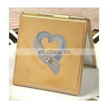 Gold Compact Mirror with Silver Heart and Rhinestone