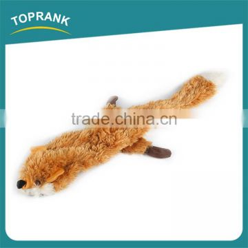 Hot selling pet chewing unstuffed PV plush fox shaped dog toys