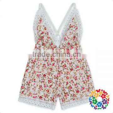 V-Neck florals cotton lace trim fringe backless vintage baby girls romper suit
