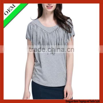 2015 100% cotton t-shirt women fringe t-shirt OEM