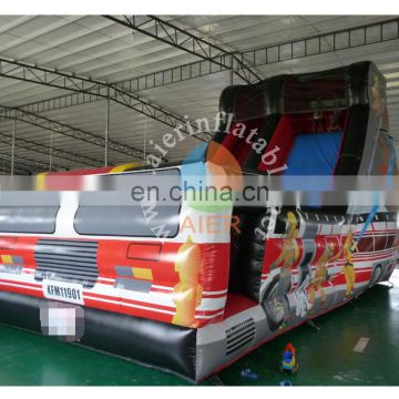 8Lx4Wx6mH 0.55mmPVC material Used Inflatable funny Fire truck dry slide for fun/for sales