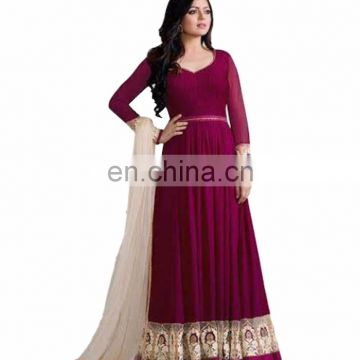 Women Maroon Color Floor Length Anarkali Style Semi Stitched Dress Material 2017 (anarkali dresses)