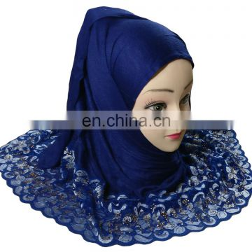 2-Way Style Dark Blue Color Net Scarf 2017 / Heavy Embroidery Stoles Designs 2017 / New Girls Scarf (scarves scarf stoles hijab)