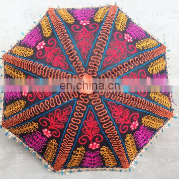 Handmade unique inidan Umbrella with embroidery work ,decorative cotton parasol ,hand stitcher work parasol ethnic wholesale