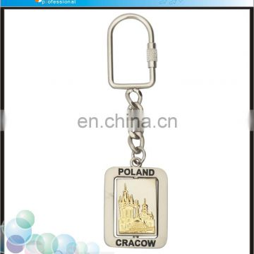 New customized travel gift poland souvenirs metal revolve keychains