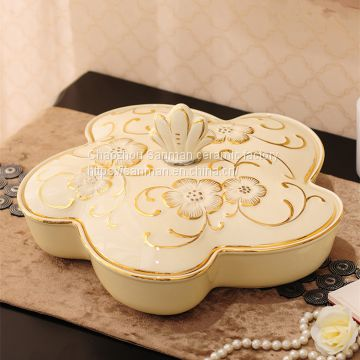 Luxury good quality ceramics kitchen jar for oil and vinegar bottle with golden hand paint flower design