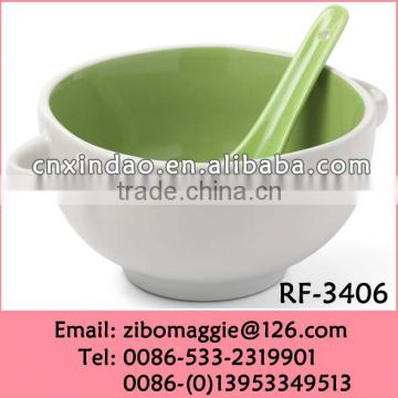 hot Sale Eruopean Style Oversized Ceramic Promotion Rice Bowl Spoon for Daily Use