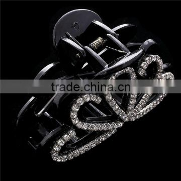 European And American Design Flower Beads Piercing Chunky Claw Black Rhinestone Water Drop Shape Hair Clamp Jewelry For Women